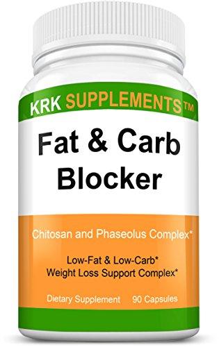 1 botella grasa y Carb Blocker con Phaseolus Vulgaris (Extracto de la haba de riñón blanca) quitosano extrema dieta pérdida de peso píldoras 90 cápsulas KRK suplementos
