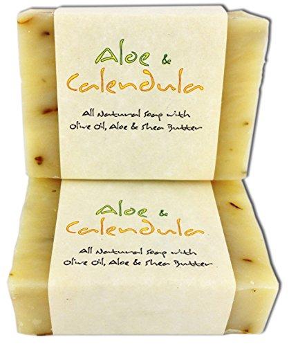 Candlecopia barras de jabón de Aloe y caléndula - 2 Pack (8,7 onzas) - libre de GMO, certificado todas hierbas jabón Natural con aceite de oliva y manteca de karité