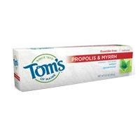 Tom de Maine propóleos y mirra Natural gratis pasta dental con fluoruro, menta verde 5,5 oz (155 g) (paquete de 6)