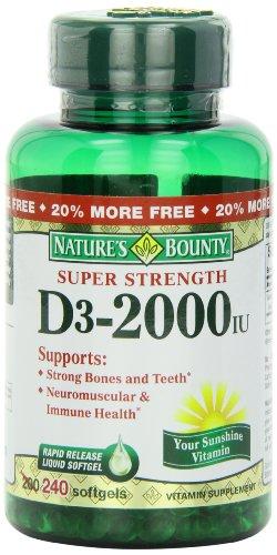 Bounty vitamina D-3 de la naturaleza, 2000 UI cápsulas, 240-Conde