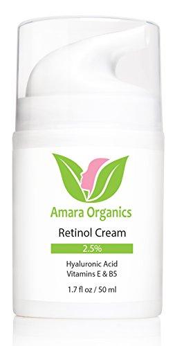 Materia orgánica Amara Retinol crema para la cara 2.5% con ácido hialurónico y vitaminas E y B5, 1.7 fl. oz