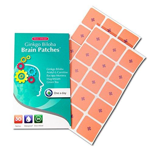 Ginkgo Biloba cerebro parches (suministro de 30 días) - contiene (Ginkgo Biloba + Acetyle-l-carnitina + Bacopa Monnieri + magnesio + té verde) - una manera conveniente de aumentar las funciones del cerebro, la concentración y la memoria.