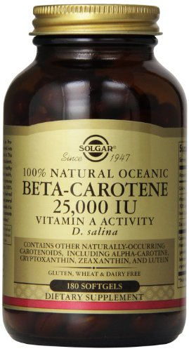 Solgar Beta oceánica betacaroteno 25.000 UI cápsulas, cuenta 180