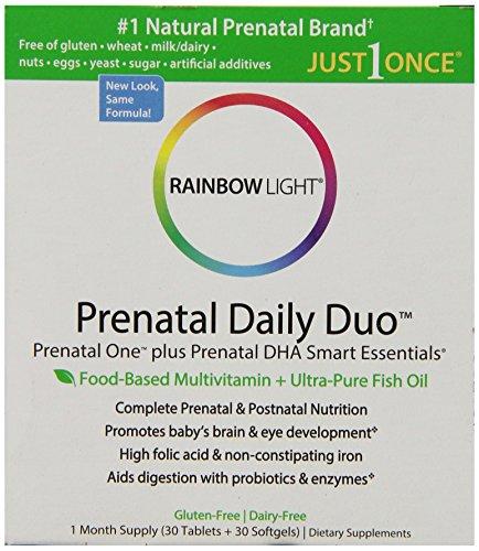 Arco iris de luz, Prenatal y Posnatal, uno Mulitvitamin Prenatal y DHA Prenatal, 30 comprimidos y 30 cápsulas