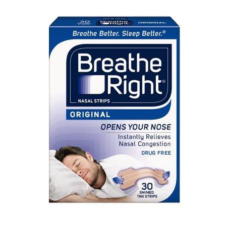 Paquete de 2 Breathe Right tiras nasales original Tan pequeño - medio 30 cada una = 60 tiras