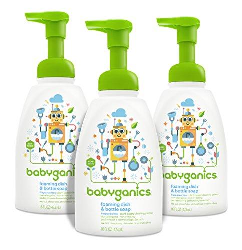 Plato de espuma de Babyganics y botella jabón, perfume gratis, 16 oz botella de la bomba (paquete de 3)