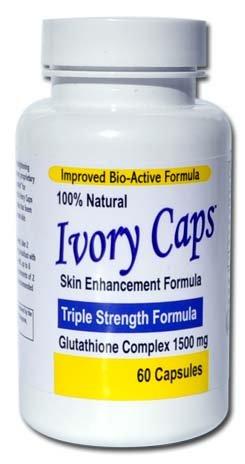 Ivory Caps - potencia máxima 1500 mg glutatión piel blanqueamiento pastillas complejo, 60 cápsulas