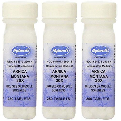 Arnica Montana de Hyland 30 X comprimidos, alivio Natural de moretones, dolor y alivio de dolor muscular, cuenta 750
