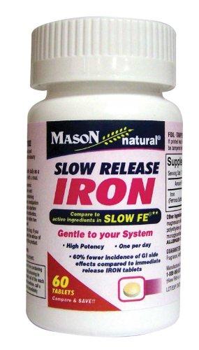 Mason vitaminas hierro de liberación lenta compara a los ingredientes activos en Slow Fe, 60 comprimidos
