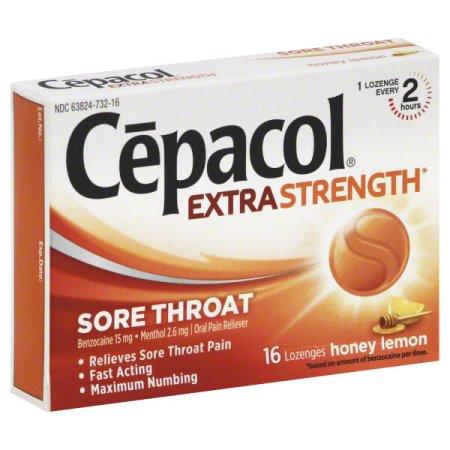 Cepacol Maximum Strength limón miel dolor de garganta Las pastillas 16 ct