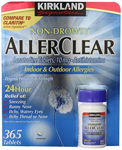 Firma de Kirkland Non Drowsy Allerclear loratadina tabletas, antihistamínico, 10mg, 365-Conde