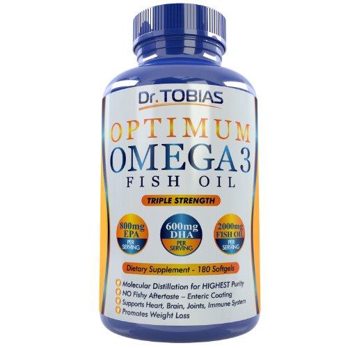 (180 cuentas) de las píldoras de aceite de pescado omega 3 - aceite de pescado Triple fuerza suplemento (1, 400mg Omega 3 ácidos grasos: 600mg DHA + EPA de 800 mg por porción) - eructos cápsulas con capa entérica y grado farmacéutico ácidos grasos - molec