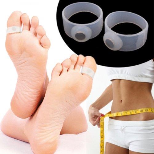 Par de anillos de silicona magnético dedo de adelgazar del cuerpo perder peso H01124