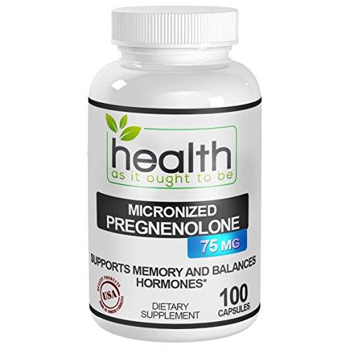 Pregnenolona 75mg - micronizada forma más efectivo que 100mg de pregnenolona estándar - mejor suplemento para la función cerebral, enfoque, soporte de memoria como Balance Hormonal * - desarrollado por médicos - probado para la pureza y fuerza - 30 días g