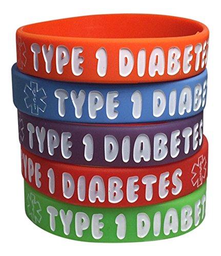 De tipo 1 Diabetes silicona médica alerta Bracelets(Pack of 5) rojo infantil, naranja, púrpura, verde, azul (6 pulgadas)