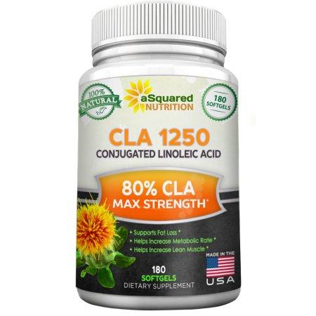 aSquared Nutrition suplemento CLA aceite de cártamo (180 Softgel Cápsulas) - Pastillas para adelgazar pura pérdida de peso de ácido linoleico conjugado, CLA natural derivado de plantas 1250mg Complejo de semillas para hombres y mujeres