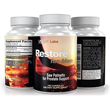 LFI Restaurar para los hombres - 100% Saw Palmetto puro cápsulas para la salud de la próstata - Reducir la necesidad frecuente de orinar y bloqueador de DHT Para combatir la pérdida de pelo - Suplemento natural 500mg - más de tres mes de suministro