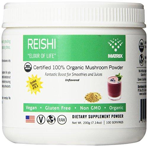 Matriz de seta Reishi orgánico en polvo, onza 7,14