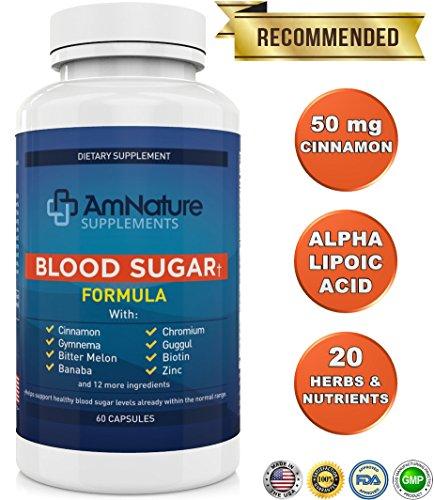 Fórmula de azúcar en la sangre - excelente mezcla de 20 hierbas y nutrientes para ayudar a los niveles de azúcar de sangre sano apoyo ya dentro de la gama Normal, 60 cápsulas 100% garantía de satisfacción