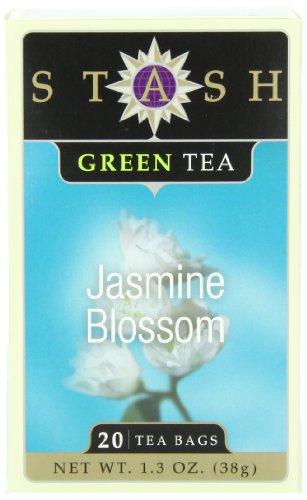 Stash Tea jazmín flor té verde, 20 bolsitas de té de cuenta en papel de aluminio (paquete de 6)