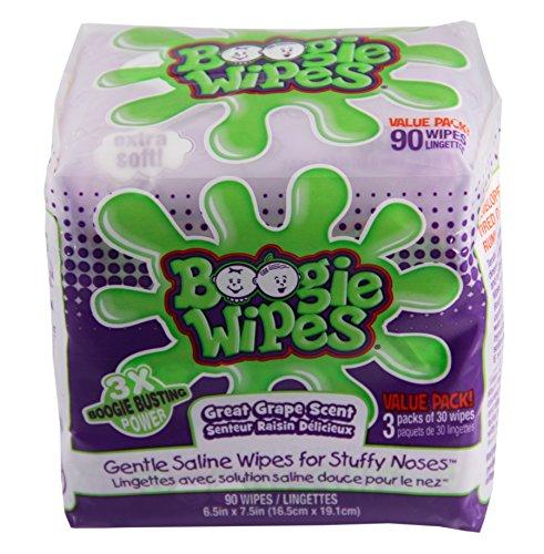 Boogie Kids salina Natural de toallitas y toallitas de nariz para el resfriado y la gripe, olor a uva, cuenta 90