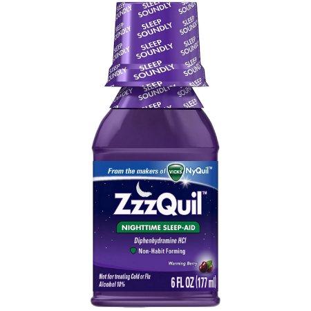 ZzzQuil Nighttime Sleep-Aid Liquid, Calentamiento Berry 6 oz (Pack de 3)