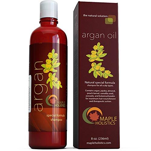 Shampoo de aceite de argán, libre de sulfato, 8 onzas - con argán, Jojoba, aguacate, almendra, núcleo del melocotón, semilla de la camelia y queratina - 100% seguro para el Color de cabello - tratado para hombres, mujeres y adolescentes - todo tipo de cab