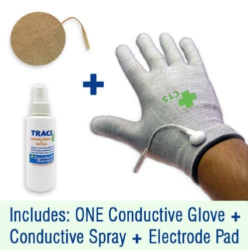 Paquete guante conductor decenas electrodo tratamiento del dolor y la Diabetes, neuropatía, síndrome del túnel carpiano, artritis electroterapia (1 guante - hilo de plata) (pequeña)