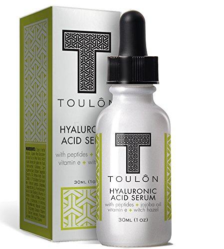 Suero de ácido hialurónico para la cara con péptidos, aceite de Jojoba, vitamina E y la avellana de la bruja; Reducir las arrugas y manchas de sol; Naturales y orgánicos: Libre regalo/No riesgo
