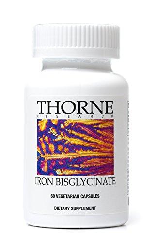 Thorne Research - hierro bisglicinato - suplemento de 25 mg para la absorción de hierro mejora - 60 cápsulas vegetarianas