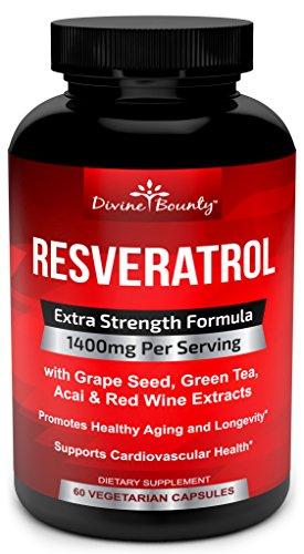 Suplemento de resveratrol - 1400 mg fórmula de fuerza Extra con extracto de té verde, extracto de semilla de uva, vino rojo extracto - 60 cápsulas de veggie - Made in USA