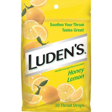 Luden's Garganta gotas mentol Pastilla - Oral anestésico Honey limón 30 ea (Pack de 4)
