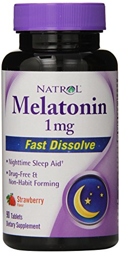 Natrol melatonina 1mg rápida disolver tabletas, fresa, 90-Conde