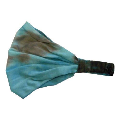 Algodón Aqua Tie Dye Headwrap Boho Yoga suave pelo ancho banda