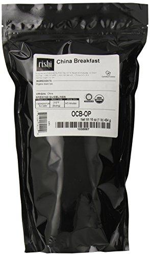 Rishi orgánica China desayuno hojas sueltas té, bolsa de 1 libra