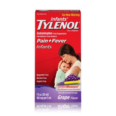 Suspensión Infants' TYLENOL® Oral reductor de la fiebre y Analgésico Uva 2 fl oz