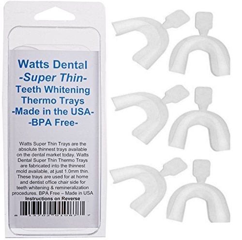 Watts Dental Super delgada blanqueamiento dental bandejas Pack de 6
