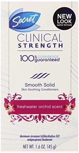 Secreta fuerza clínica lisa antitranspirante maciza mujer y orquídea de agua fresca desodorante olor 1.6 onzas
