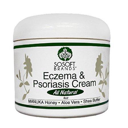 marcas TM eczema y psoriasis crema completamente natural hecho con miel de Manuka aloe vera manteca de karité aceite de coco y