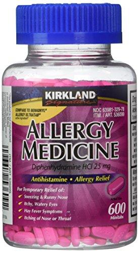 Difenhidramina HCI 25 Mg - marca Kirkland - medicina para la alergia y AntihistamineCompare al ingrediente activo del genérico de alergia Benadryl ® - 600 cuenta