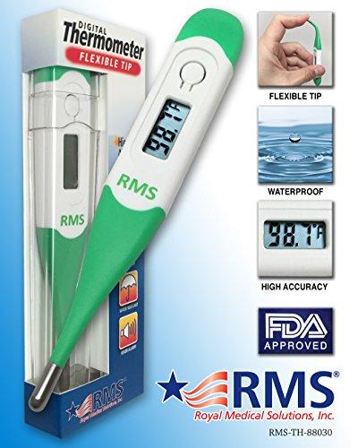 RMS Termómetro Digital clínico aprobado 100% lectura rápida en segundos por medición axilar Rectal, Oral y axilar Ideal para bebés, niños y adultos