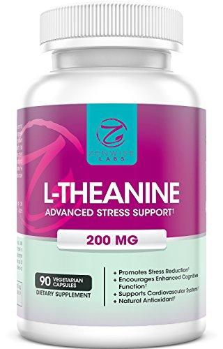 L-teanina - suplemento de aminoácidos de 200mg para el alivio del estrés - vegetariana libre de cafeína 90 cápsulas - naturales y té verde derivados - para cognitivos, cardiovasculares y soporte de antioxidantes - laboratorios Zenwise