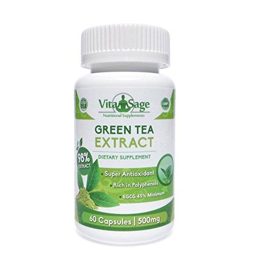 Suplemento de extracto de té verde - 500mg Premium fórmula ECGC 45% y 75% polifenoles mínimo - 60 cápsulas por botella - GMP certificado - hecho en Estados Unidos - satisfacción garantizada