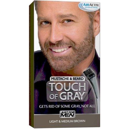 Just For Men Touch of Grey Color de cabello el bigote y la barba del kit luz y Mediana Brown B-25-35 1 ea (paquete de 4)