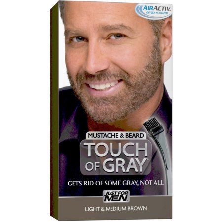 Just For Men Touch of Grey Color de cabello el bigote y la barba del kit luz y Mediana Brown B-25-35 1 ea (paquete de 4)