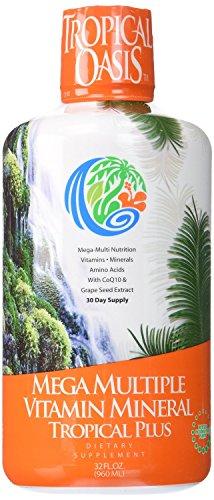 Oasis Tropical Mega Plus - líquido multivitamínico y Mineral suplemento - incluye 85 vitaminas y minerales, 20 aminoácidos + CoQ10, semilla de uva orgánica y extracto de Aloe Vera--32oz, 32 porciones