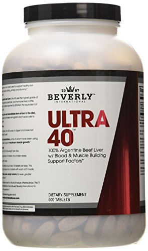 Beverly internacional 40 Ultra, hígado de res 100%, 500 comprimidos
