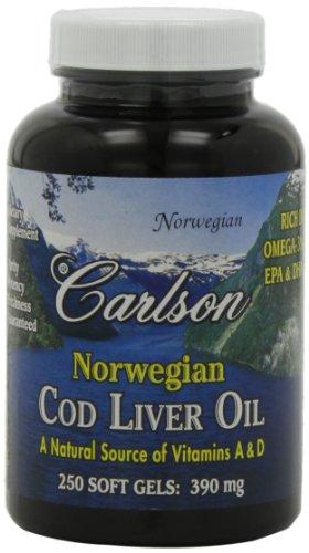 Carlson Labs de bacalao aceite de hígado, 390 Mg, 250 cápsulas