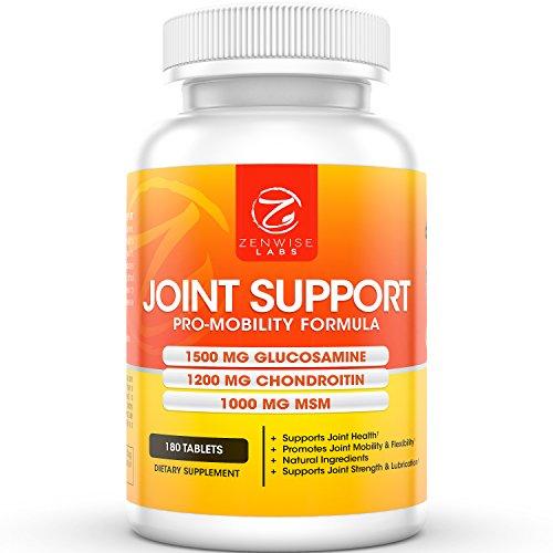 Suplemento de salud de apoyo conjunto suplemento - con 1500mg glucosamina, 1200mg condroitina, MSM y ácido hialurónico para alivio avanzado - movilidad para dolor, dolor, dolor y la inflamación - 180 cuenta