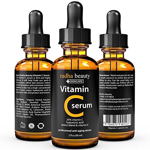 Suero de vitamina C para la cara - 2 fl. oz - 20% orgánico Vit C + E + ácido hialurónico de Vegan - profesional de la piel Facial cuidado fórmula - Radha belleza